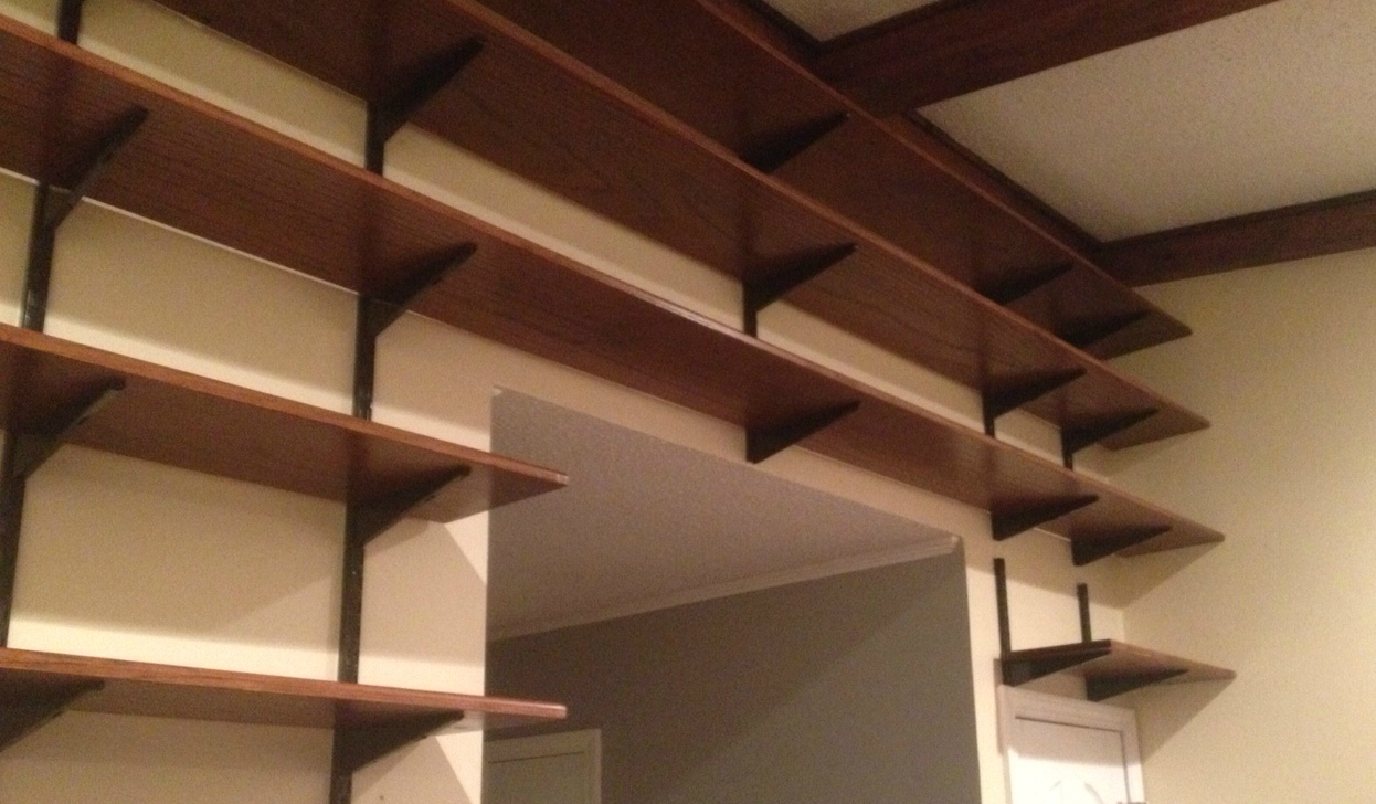 Wall To Wall Shelves solid oak wall to wall shelves – fine carpentry